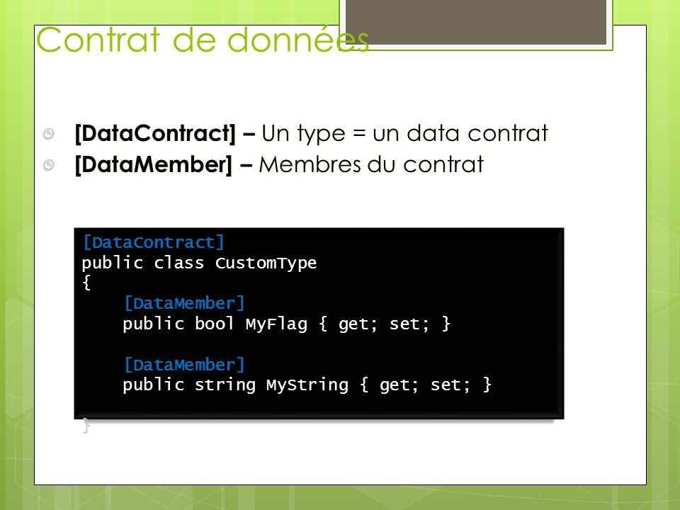 Contrat de données [DataContract] – Un type = un data contrat